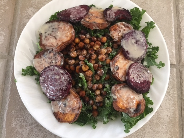 Snappy Salads – Roasted chickpea, sweet potato and beet salad