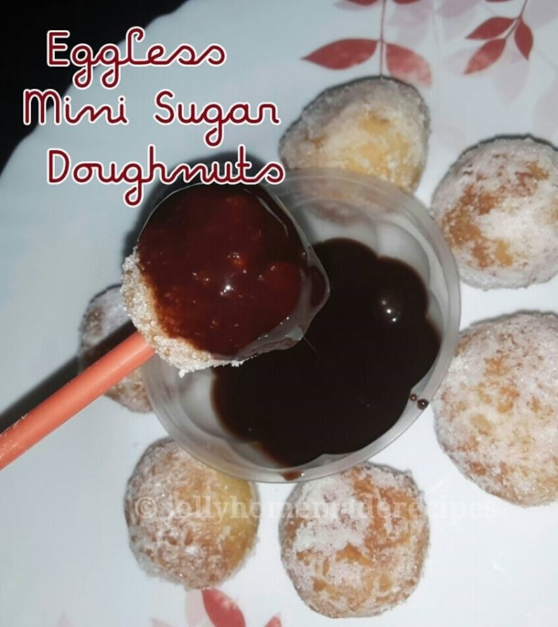 Eggless Mini Sugar Doughnuts | Homemade Mini Donuts made from Scratch