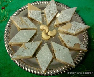 "Back to Blogging After a long Break – new recipe Diwali special ""Kaju Katli"" / Cashew nut Fudge"
