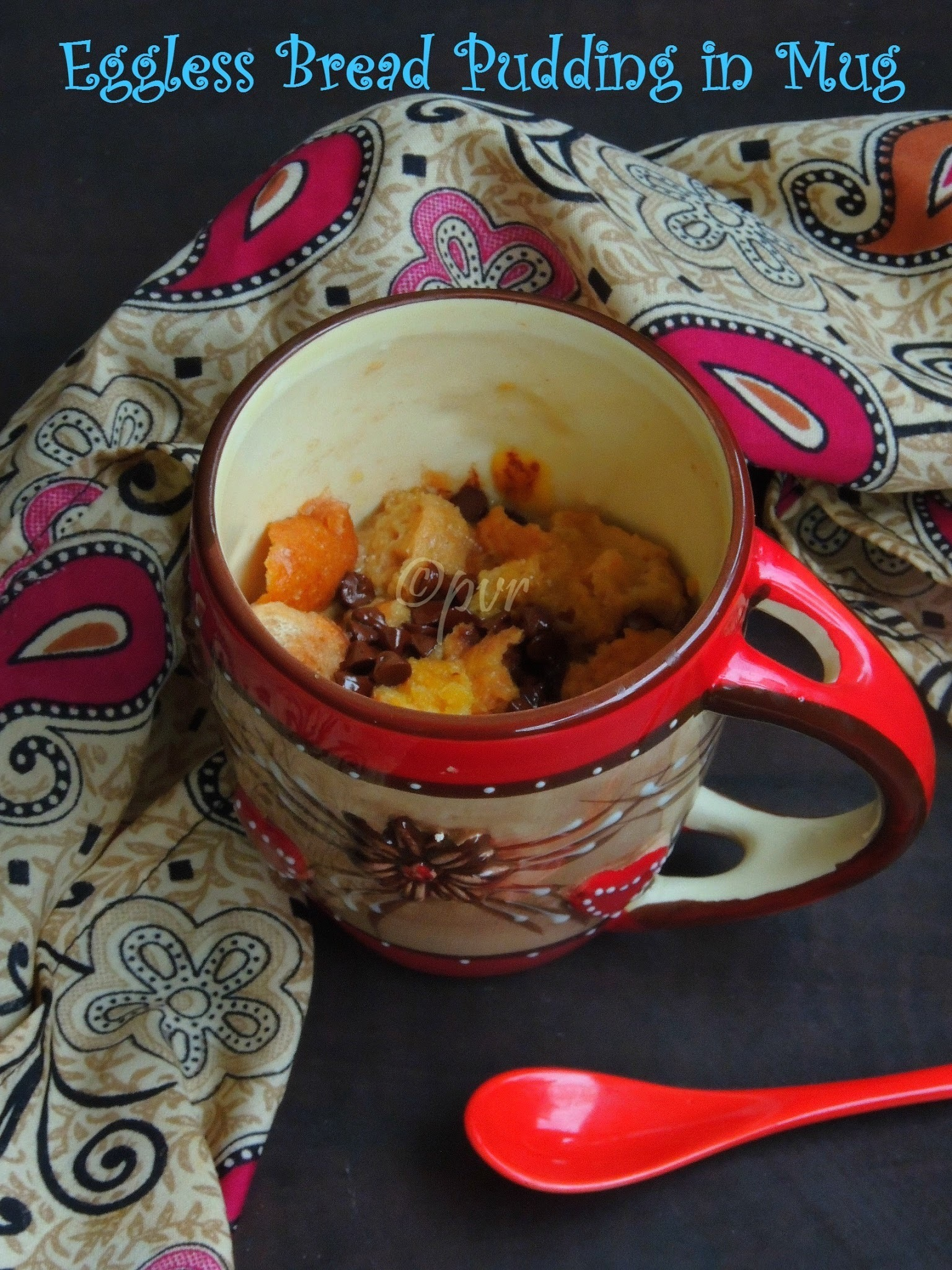 Eggless Bread Pudding In Mug