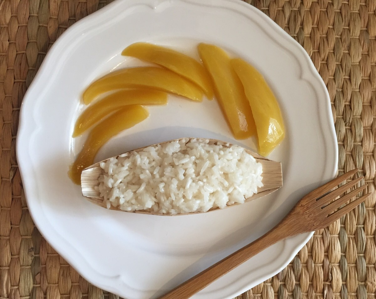 Sticky rice with mango (arroz con mango), receta Tailandesa