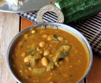 Ridge gourd gravy - Peerkangai kootu - Tasty side dish for rice or chapathi or roti or naan