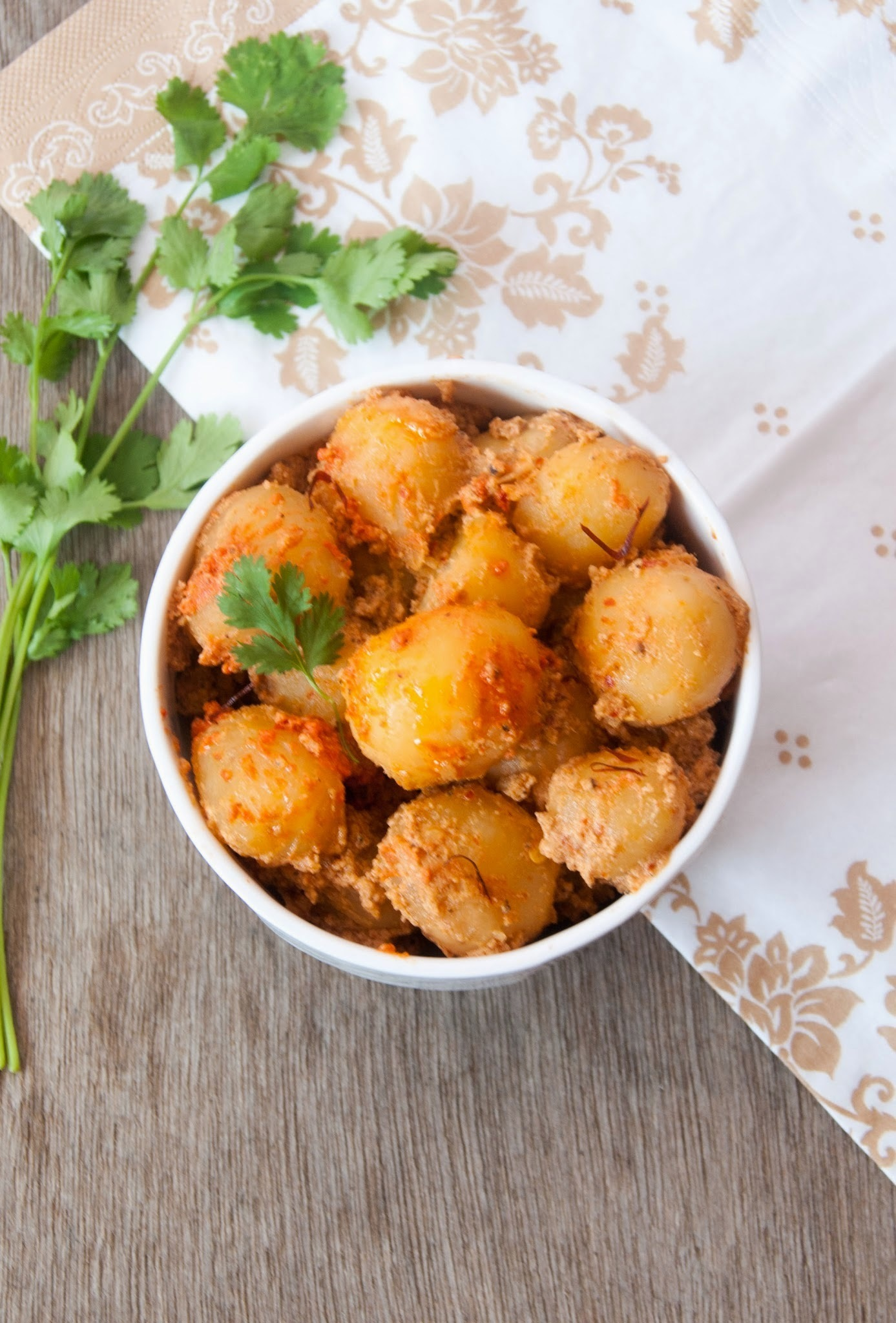 Dum Aloo / Baby Potatoes in Yogurt based Gravy