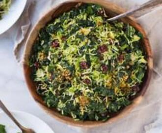 SHREDDED BRUSSEL SPROUT AND KALE SALAD WITH MAPLE PECAN PARMESAN