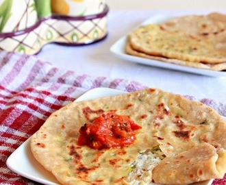 Paneer Parathas, Flat Breads Stuffed With Indian Cottage Cheese