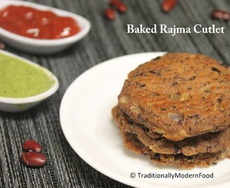 Baked Rajma Cutlet / Baked Kidney beans Patty