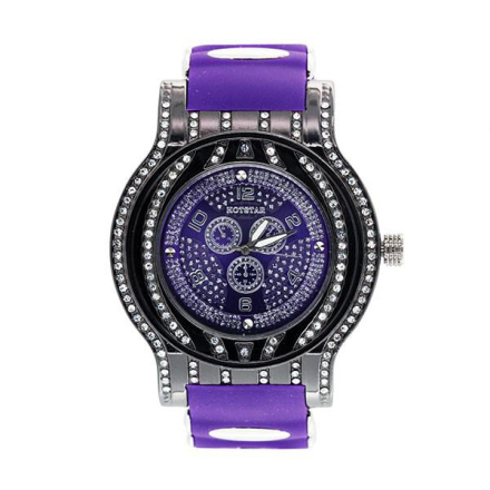 Klocka | Hot Star Purple Diamond Bling Watch