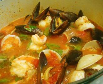 Mussels, Clams and Shrimp in Spicy Broth