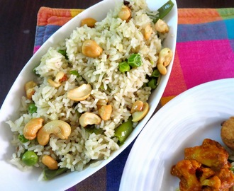 Cashew Nut Peas Pulao ~ Lunch Box Recipes for Kids