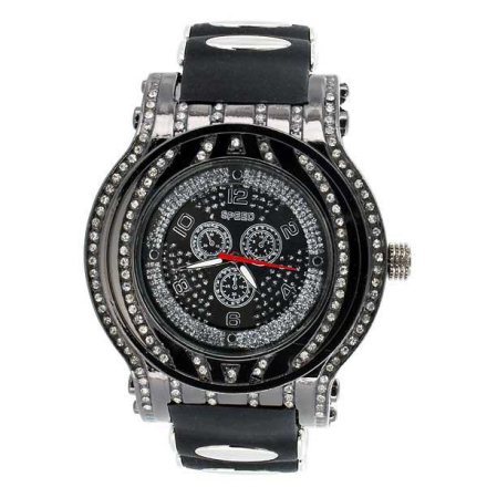 Klocka | Hot Star Black Diamond Bling Watch