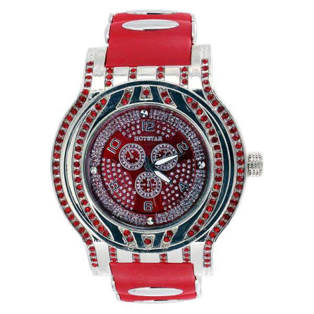 Klocka | Speed Platinum Red Diamond Bling Watch