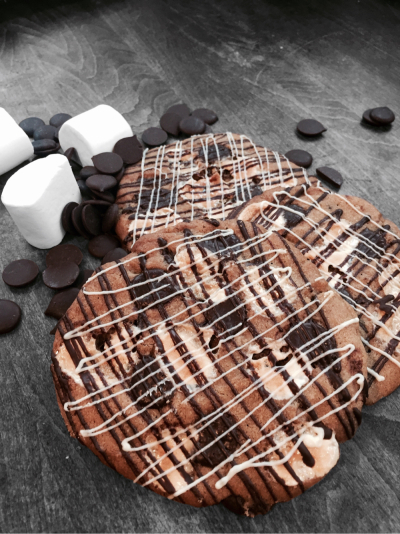 LARGE chewy chocolate chip cookies with dark and white chocolate and marshmallows!