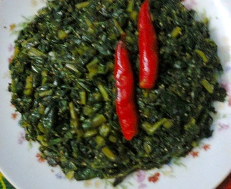 Radish Leaves With Poppy Seeds/Posto Diye Mulo Shak.