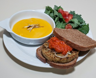 Hilary's Veggie Burger, Leftover Butternut Squash Soup (for me only)