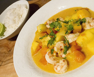 Thai curry med reker, mango og søtpotet