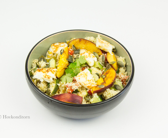 Couscous Salad with Nectarine and Halloumi