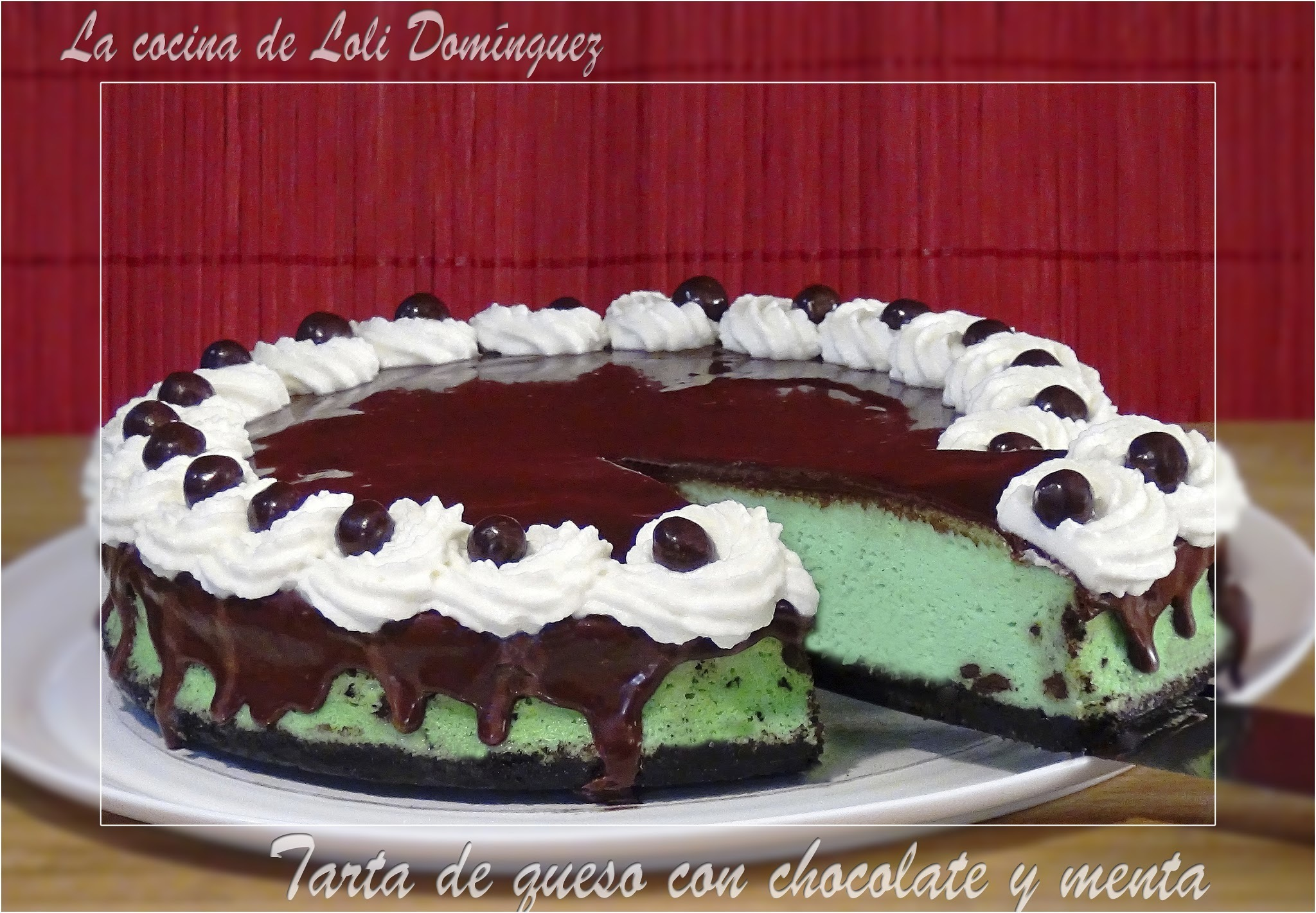 Tarta de queso con chocolate y menta