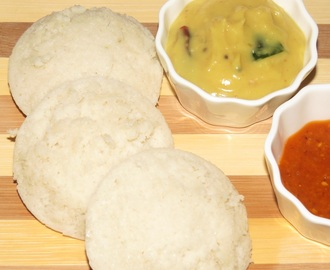 Super Soft, White Idlis (Steamed Rice and Black Gram Dumplings)