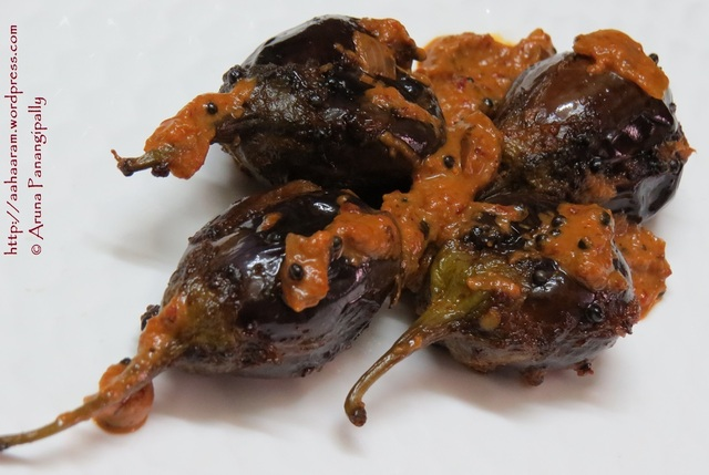Gutti Vankaya Ulli Kharam (Baby Brinjals Stuffed with Spicy Onion-Chilli Masala)