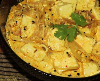 Achari Paneer (Cottage Cheese in a Spicy Yogurt Gravy)