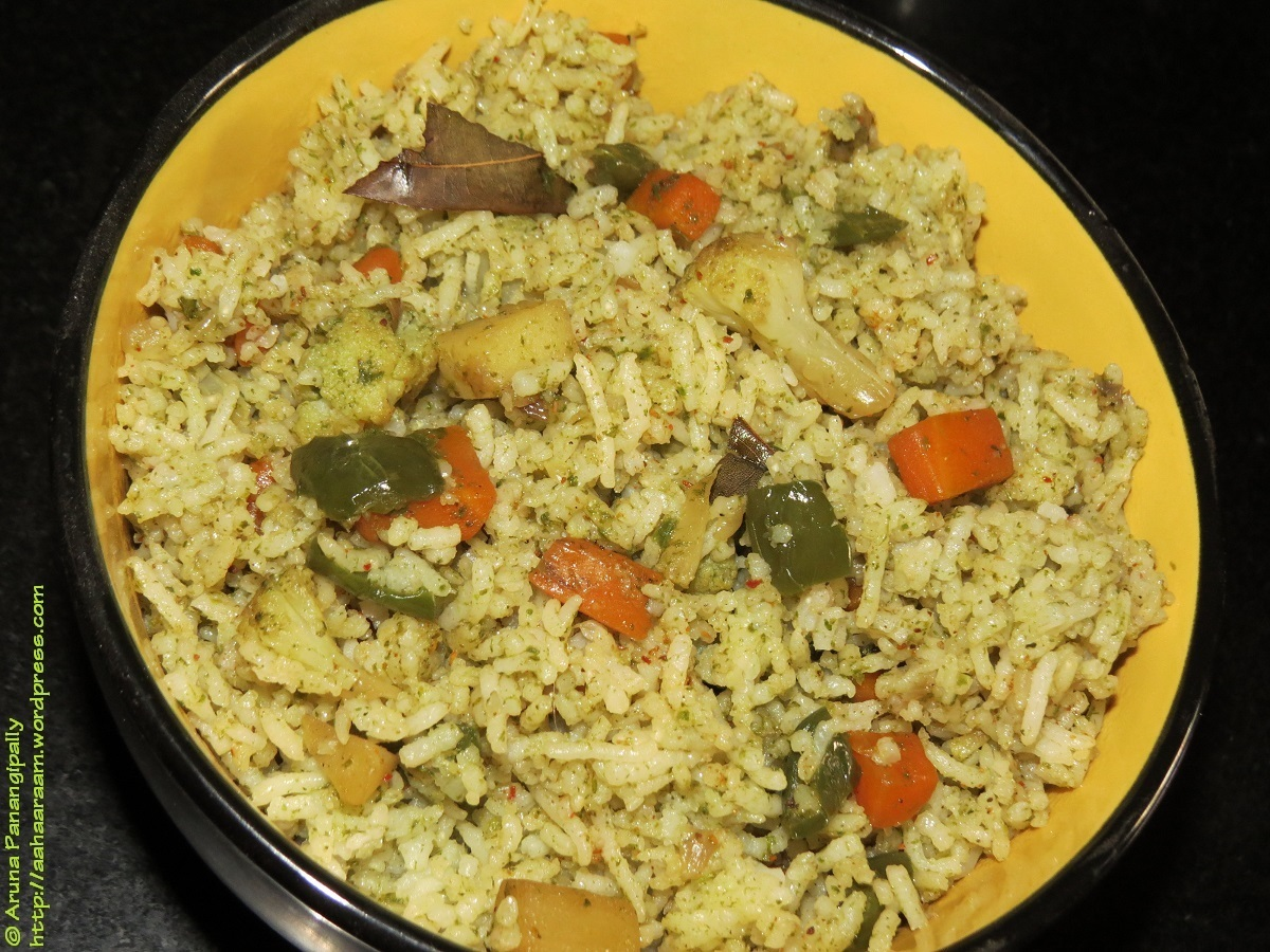 Pudina Pulao (Minty Rice with Loads of Vegetables)