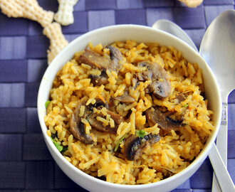Tomato Mushroom Rice - Simple one pot meal - Lunch box recipes