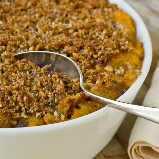 Sweet Potato Bread Pudding with Pecan Streusel & Whiskey Sauce