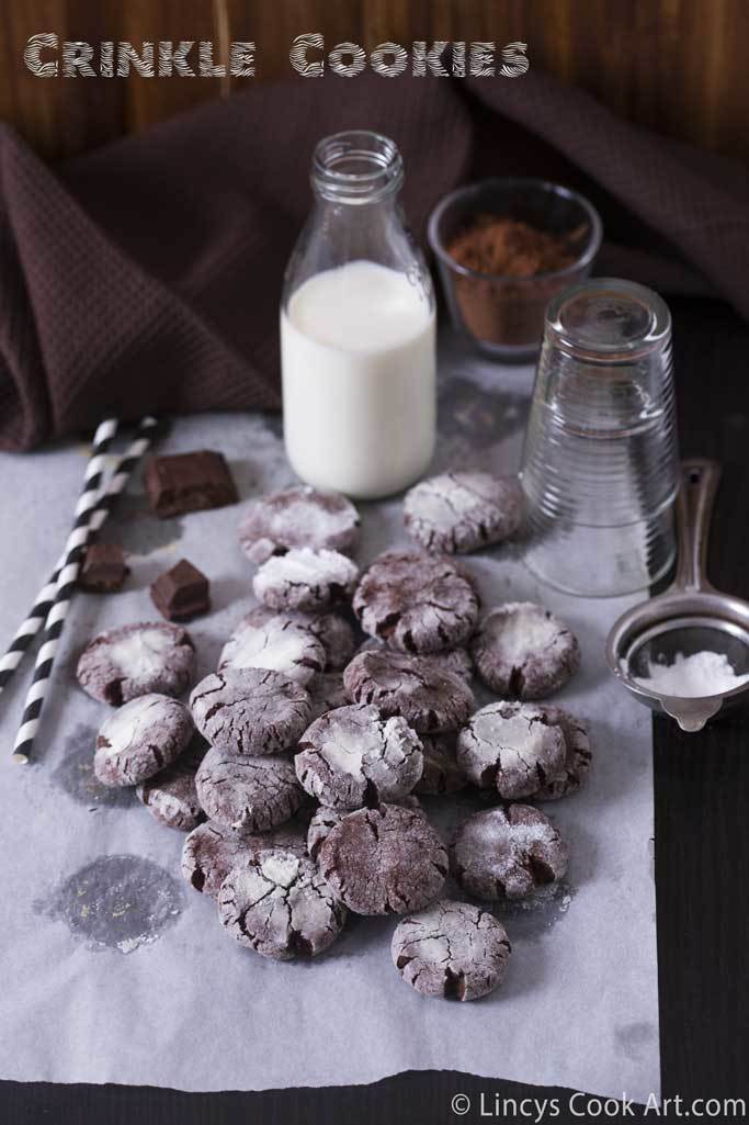 Eggless Crinkle Cookies| Chocolate Snow ball Crinkle Cookies