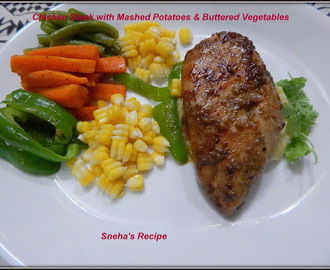 Chicken Steak with Mashed Potatoes & Buttered Vegetables #ImprovCooking