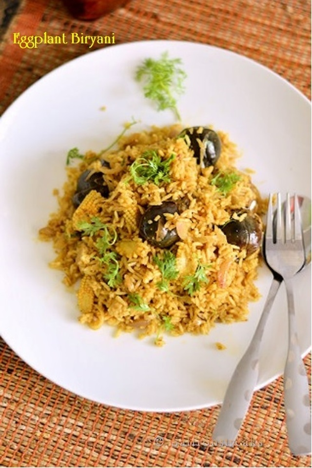 Stuffed eggplant biryani and lecture on vegetarianism by Masterchef India