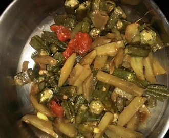 Bhindi aloo sabzi (lady finger/ okra and potato with spice)