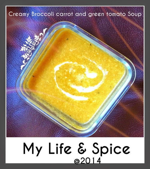 Creamy Broccoli, Carrot and Green Tomato Soup