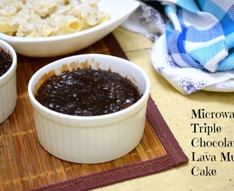 Microwave Eggless Triple Chocolate Lava Mug Cake