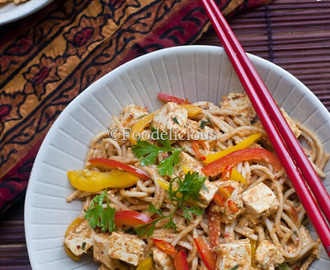 Spicy Soba Noodles & Tofu Salad In Peanut Butter-Basil Dressing;Maharaja Whiteline TurboMix King Hand Blender's Review; Light Meal On Monday; Step Wise