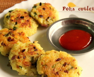 Poha cutlet recipe or avalakki/aval cutlet recipe – easy snacks recipe