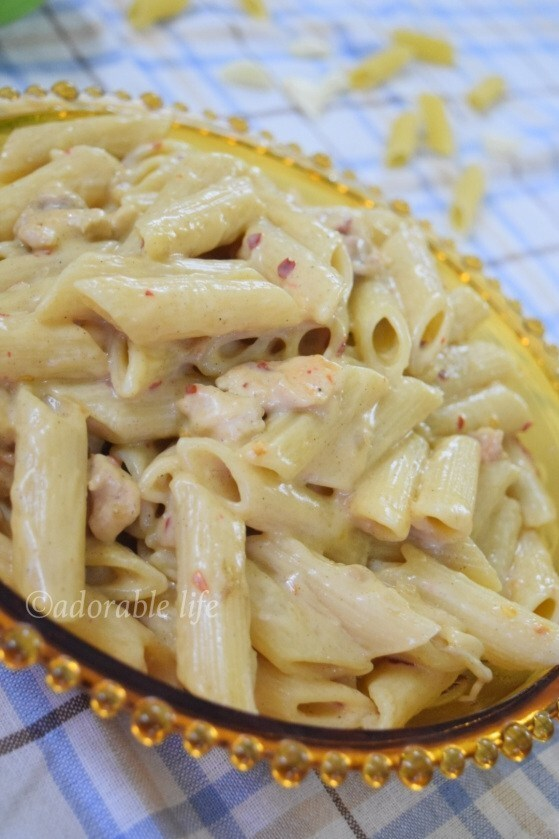 Creamy Cheesy Chicken Penne Pasta( in white sauce with few ingredients)