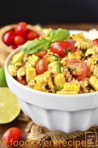 GRILLED CORN AND AVOCADO PASTA SALAD WITH CHILI-LIME DRESSING