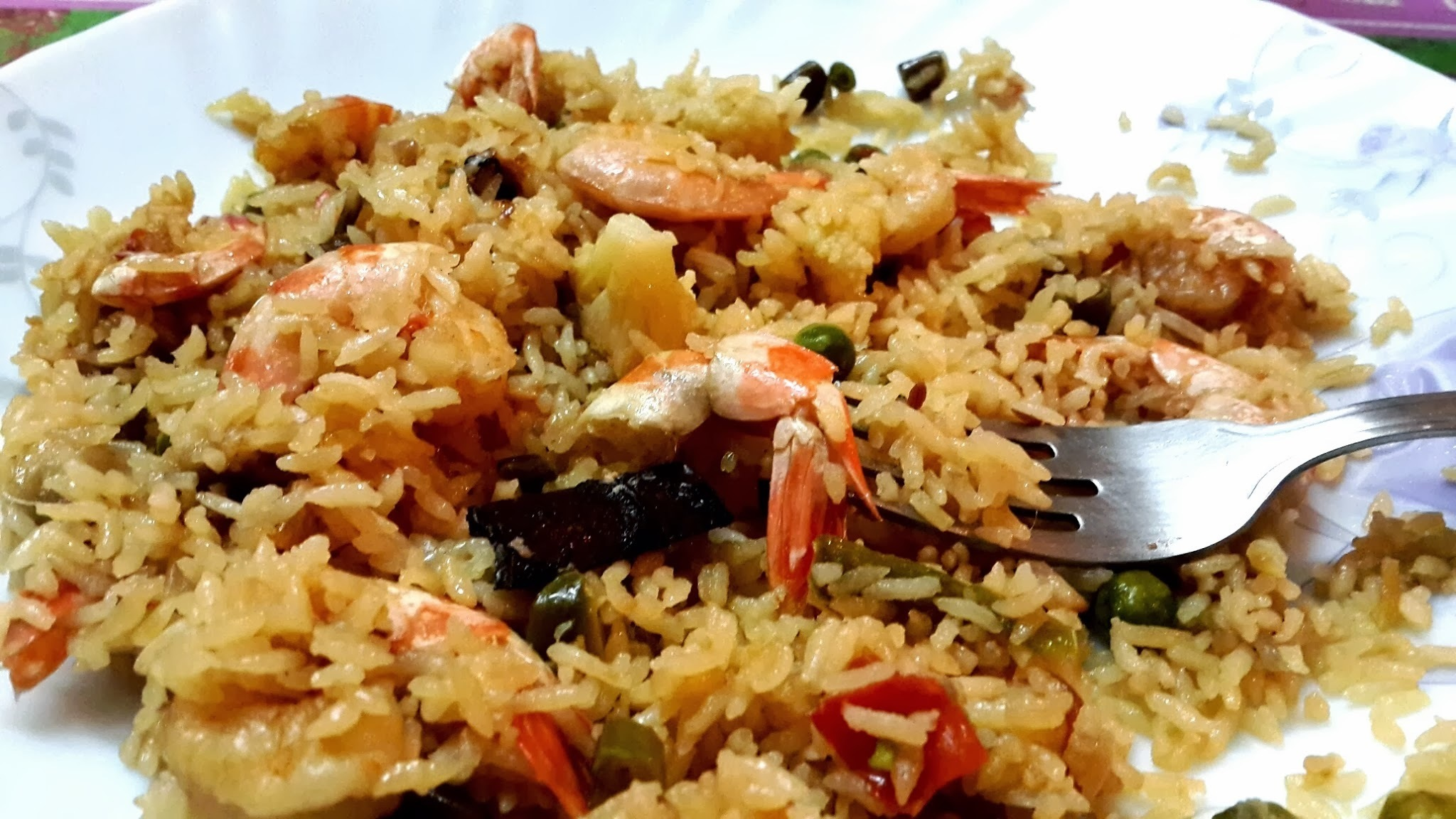 Shrimp Pulav with Coconut Milk (in the Microwave Oven)