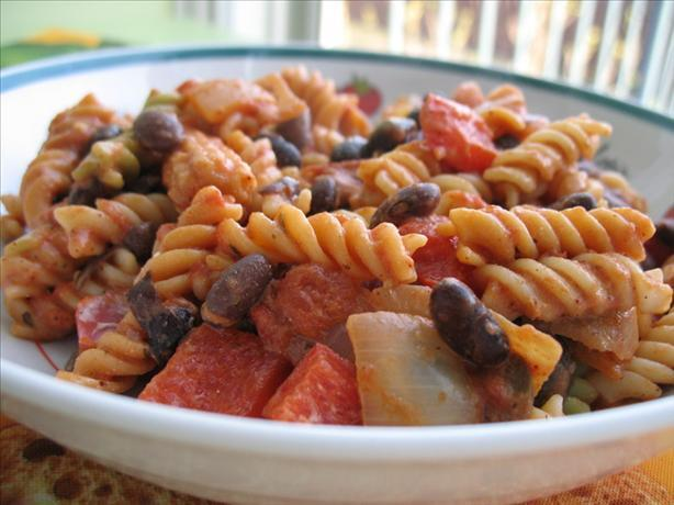 Mexican Pasta and Black Beans (Vegetarian)