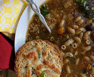Home-Style Minestrone Soup in Pressure Cooker & Garlic Cheese Disks
