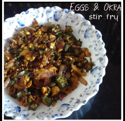 Scrambled Eggs & Okra Stir Fry / Vendekka Mutta Thoran