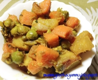 Aloo gajar matar ki sabzi / potato peas and carrot curry recipe/ howtomake potato peas and carrot curry