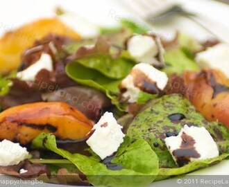 Grilled Peaches with Baby Greens, Goat Cheese and Balsamic Glaze