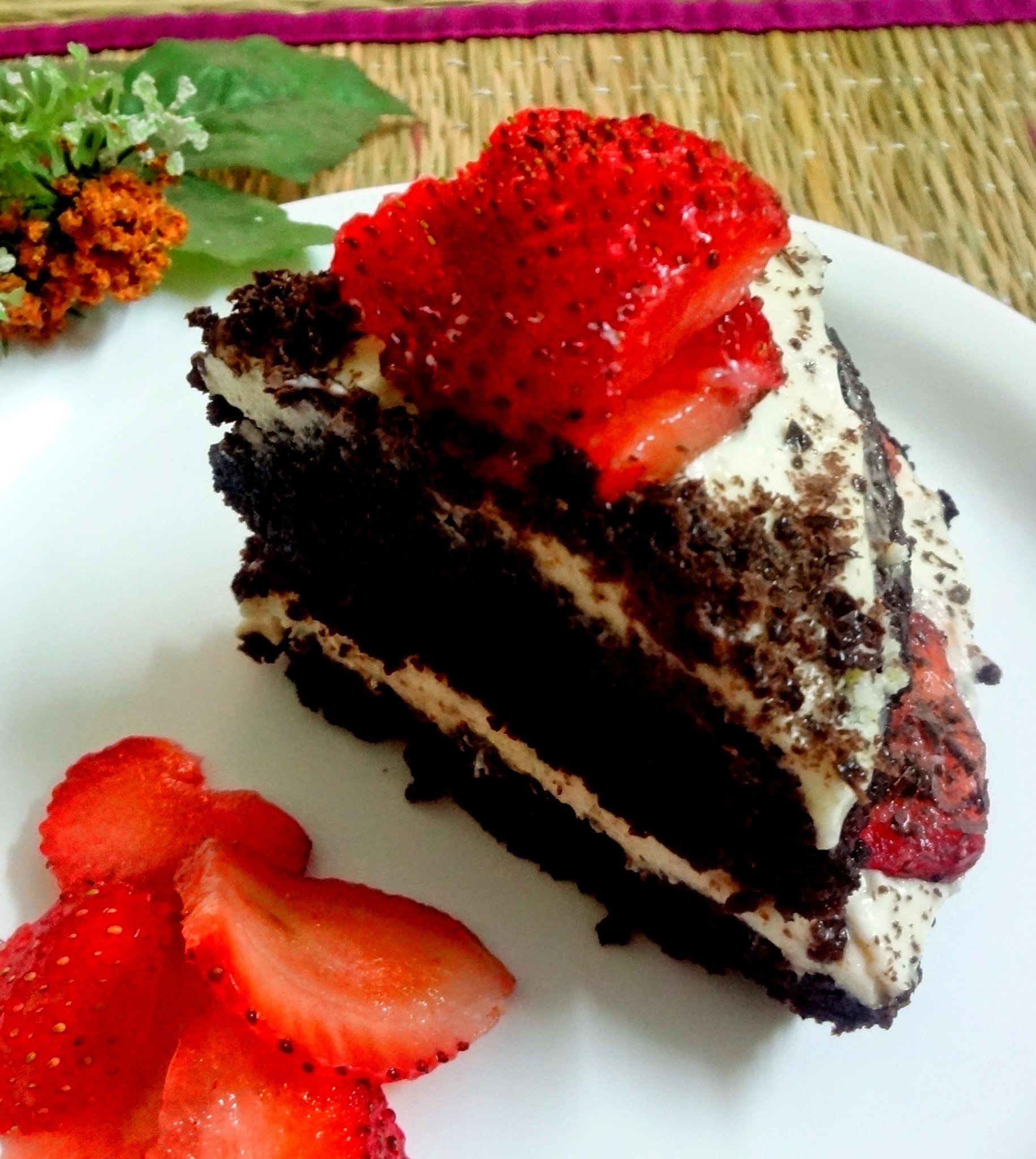 Chocolate Strawberry cake with Whipped cream frosting ( eggless)