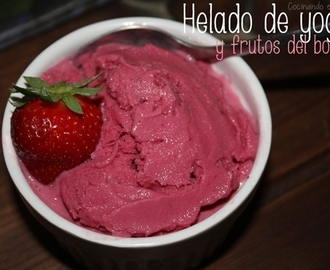 Helado de yogur y frutos del bosque
