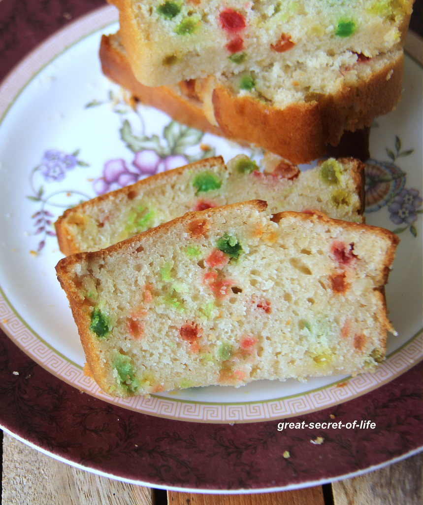 Eggless Tutti Frutti Cake Recipe-Basic Vanilla Sponge Cake Recipe - Eggless Tutti Frutti Cake Recipe with yogurt