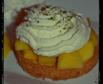 TARTELETTES MANGUES-CHANTILLY CITRON VERT, COULIS DE MANGUE ET GLACE COCO