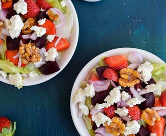 Strawberry,beetroot and feta cheese salad with candied walnuts