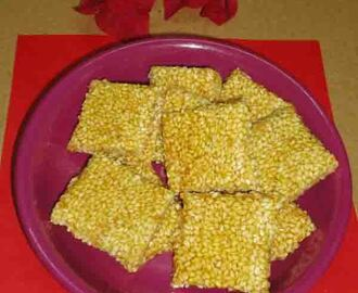 Til chikki with sugar - tilachi vadi - ellina chikki - chikki recipes -  sesame seeds recipes