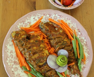Fish masala bake/Oven baked fish in thick sauce
